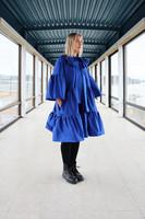 LUSH- SILK DRESS with BOW COLLAR, BLUE