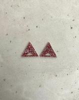 Triangle - Earrings, Pink glitter