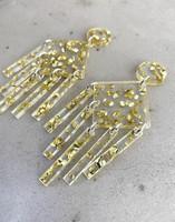 DANGLE - EARRING, GOLD GLITTER