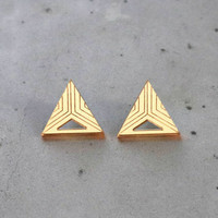 Triangle - Earrings, gold