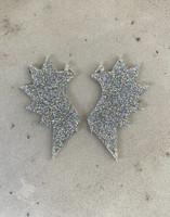 Wings - earring, grey glitter