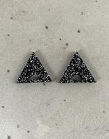 Triangle - Earrings, Black glitter