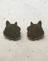 CAT - earring, grey mirror acrylic