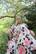 FLOWY- SILK DRESS, LONG FLOWER BEIGE