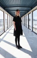 FLOWY- DRESS short sleeves, BLACK