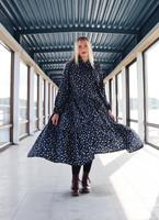 FLOWY- DRESS LONG, LEO BLUE