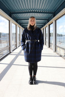 CHECK COAT - BLUE/GREY