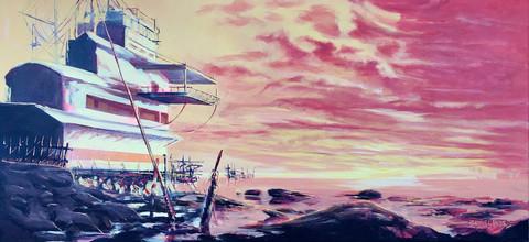 Taianomainen hetki Tuulitehtaalla auringon juuri laskettua, 2021
