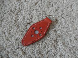 Nahkainen avaimenperä, lohenpunainen, heijastava