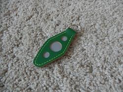 Nahkainen avaimenperä, vihreä/harmaa, heijastava