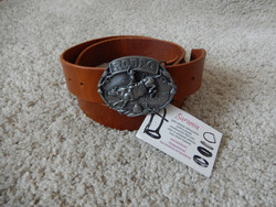Nahkavyö 113cm/40mm vaihdettavalla soljella, konjakki Tärnsjö platti