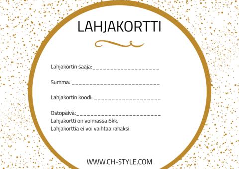 Lahjakortti CH Stylen verkkokauppaan alkaen