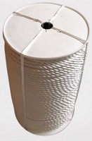 Kierretty nylonköysi Ø 6 mm, 200 m/rll, valkoinen (uppoava)