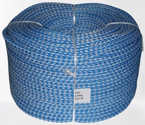 Palmikoitu PET Ø 10 mm, 200 m/rll, sinivalkoinen