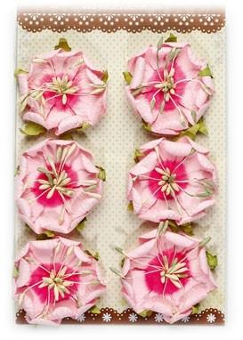 Käsintehdyt paperikukat 6kpl pinkki