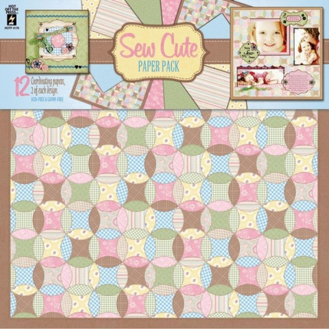 Hot Off The Press paperisetti Sew Cute 12kpl/12x12