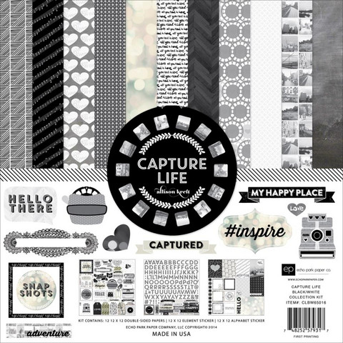 Echo Park collecktion kit paperisetti Capture Life Black & White 12x12