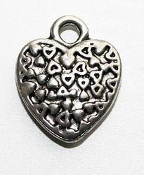 Metalliriipus sydän 12,5mm antiikkihopeanväri 5kpl