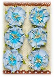 Käsintehdyt paperikukat 6kpl siniset