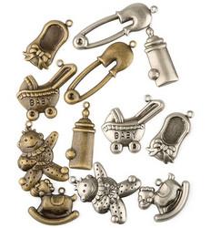 Metallikoristeet vauva-aihe