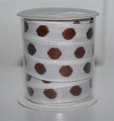 Koristenauha pilkkunauha valko-ruskea 1cm/5m