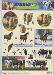 3D-kuva Studiolight hevonen, lampaat, lehmät