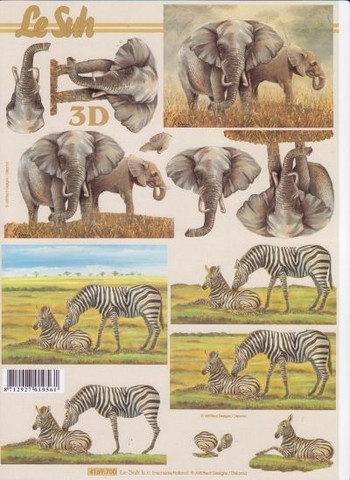 3D-kuva norsut ja seeprat