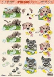 3D-kuva koirat ja kukkia