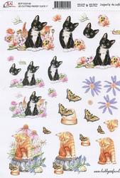 3D-kuva Cm kissat ja kukat