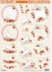 3d-kuva häät, kyyhkyt vaaleanpunainen
