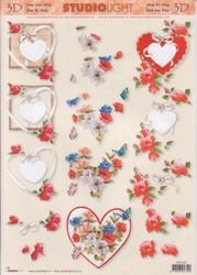 3d-kuva häät, kihlat ja punaiset ruusut