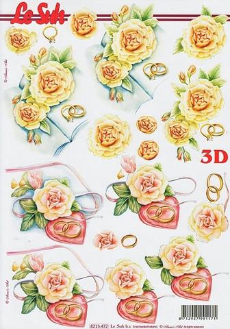 3d-kuva häät, ruusut ja sormukset