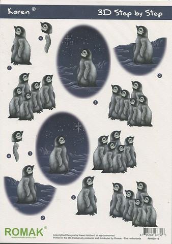 3d-kuva Romak pingviinit ja tähtitaivas