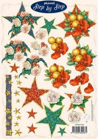 3d-kuva Step by step joulukukat tähtiasetelmassa