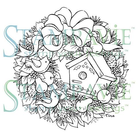 Stampavie leimasin wreath with birdhouse