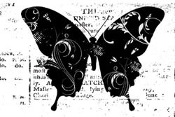 Stamping Bella leimasin Eclectic butterfly on print