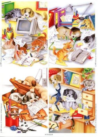 Le Suh korttikuvat eläimet toimistossa