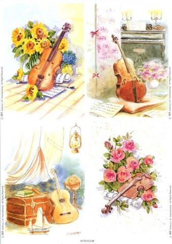 Le Suh korttikuvat soittimet ja kukat