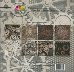 Dixi Craft paperikko Gears backround Brown 6x6