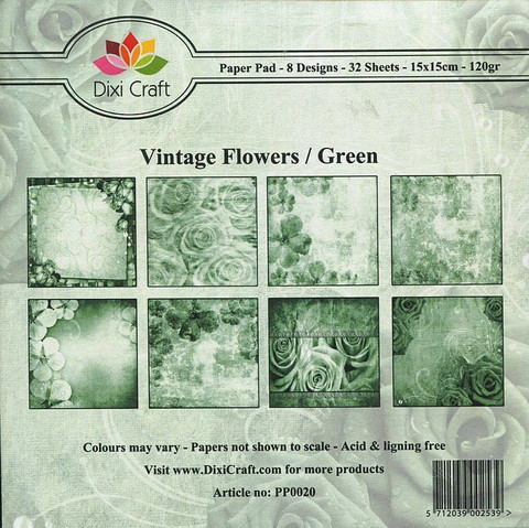 Dixi Craft paperikko Vintage Flowers / Green 6x6