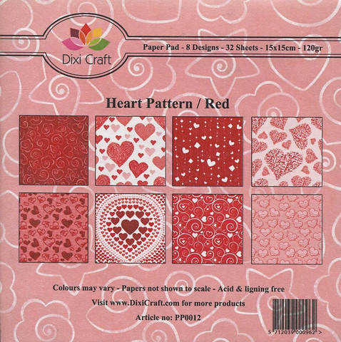 Dixi Craft paperikko Heart Pattern / Red 6x6