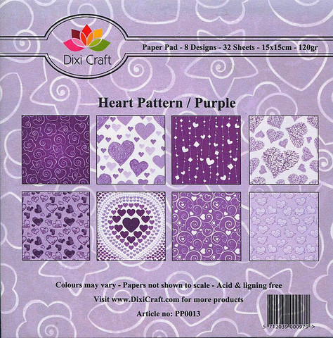 Dixi Craft paperikko Heart Pattern / Purple 6x6