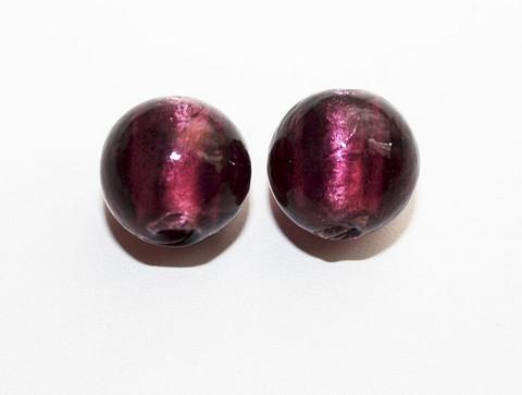 Pyöreälamppuhelmi hopeafoliolla luumu 13mm/5kpl