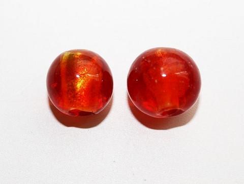 Pyöreälamppuhelmi hopeafoliolla puna-oranssi 13mm/5kpl