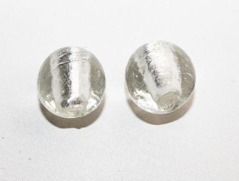 Pyöreälamppuhelmi hopeafoliolla kirkas 13mm/5kpl