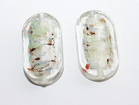 Lamppuhelmi litattuovaali hopeafoliolla kirkas/väriraidat 27mmx15mm