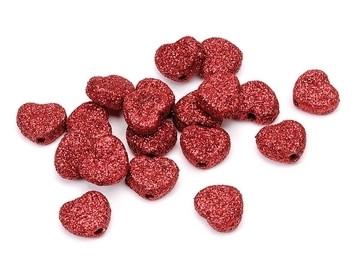 Akryylihelmet punaiset kimallesydämet 24kpl