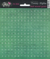 Glitz aakkostarrat Teeny Alpha Teal Wood Grain