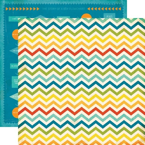 Echo Park paperi All About a boy Chevron stripe 12x12