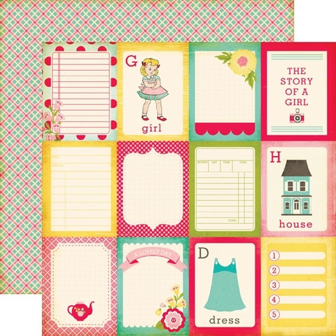 Echo Park paperi Sweet Girl 3x4 journaling cards 12x12